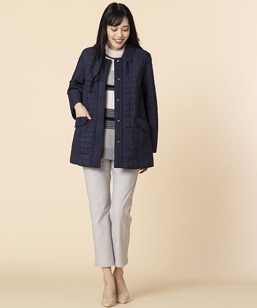 【大きいサイズ/L~3L】気軽に羽織れるキルトジャケット。モノトーンですっきりコーディネート。