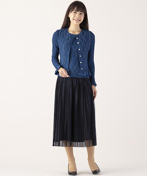 【リリアンビューティエクラ】Sサイズ 流行にとらわれない、エレガンス。プリーツ×レースなら、大人に似合う上品スタイルに。アンサンブルで着れば、きちんと感もアップして見えますね。シャンブレー素材のスカートを合わせることで、一歩さきゆくお洒落コーディネートに。