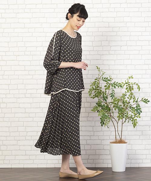 【大きいサイズ・L~3Lサイズ】大人の甘さ漂うセットアップスタイル。歩く度にひらひら揺れる裾が可愛いアイテムです。