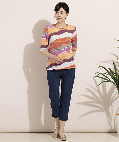 夏に映えるジューシーなカラーが魅力のTシャツ。国内のジャガードニットを使用した他と差が付1枚です。