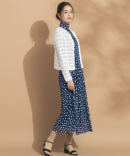 Sサイズを綺麗に着こなす服・小柄さんの魅力を引き出す【リリアンビューティエクラ】 気分を上げてくれるセットアップも柔らかなチュール素材で気軽に楽しめる。ボレロを合わせてエレガントに。 モデル身長:165cm