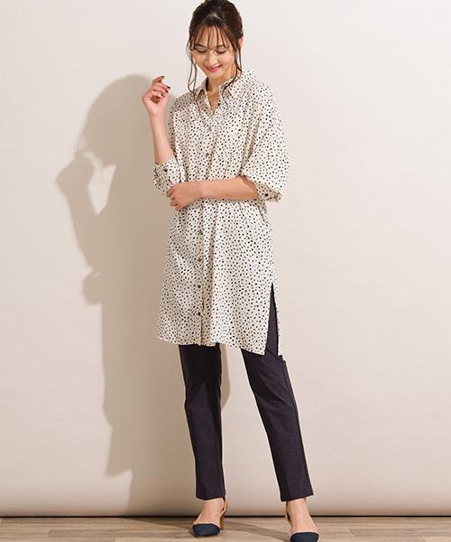 楽して着映えを狙うなら、とろみ素材のプリントロングシャツがおすすめ。すっきり細身のパンツをあわせてアクティブに着こなして! ◆大きいサイズ/L-3L◆model:173cm