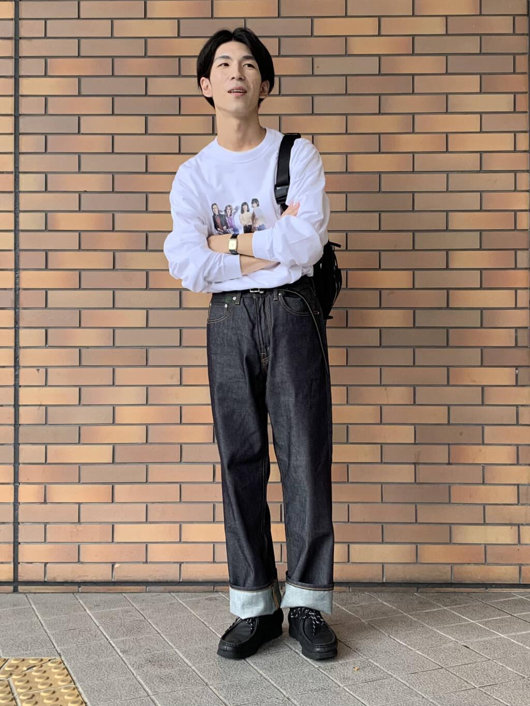 iDのローリングストーンズTシャツに SHIOTAデニムのBOBを。  SHIOTAデニムは光沢のあるので、 上品な印象になります。