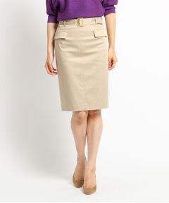 【洗える】ベルト付ストレッチタイトスカート