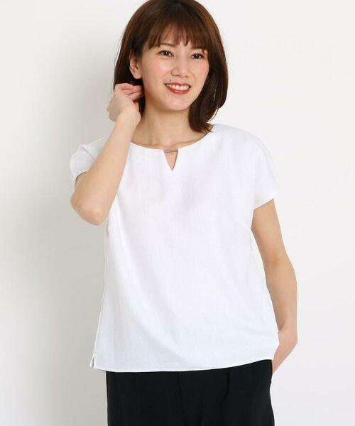 COUP DE CHANCE / クードシャンス シャツ・ブラウス | 【洗える】バーネック タックスリーブシャツ(ホワイト(001))