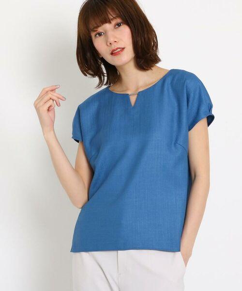COUP DE CHANCE / クードシャンス シャツ・ブラウス | 【洗える】バーネック タックスリーブシャツ(ライトブルー(091))