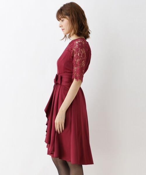 9c7301a612dc2 セール  WEB限定LLサイズ レーススリーブドレープワンピース (ドレス ...