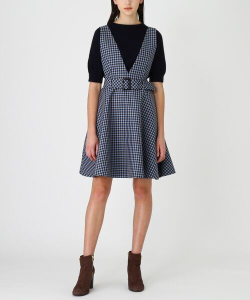 BLUE LABEL / BLACK LABEL CRESTBRIDGE / ブルーレーベル / ブラックレーベル・クレストブリッジ  ドレス | ブリットチェックジャンパードレス(ネイビー3)