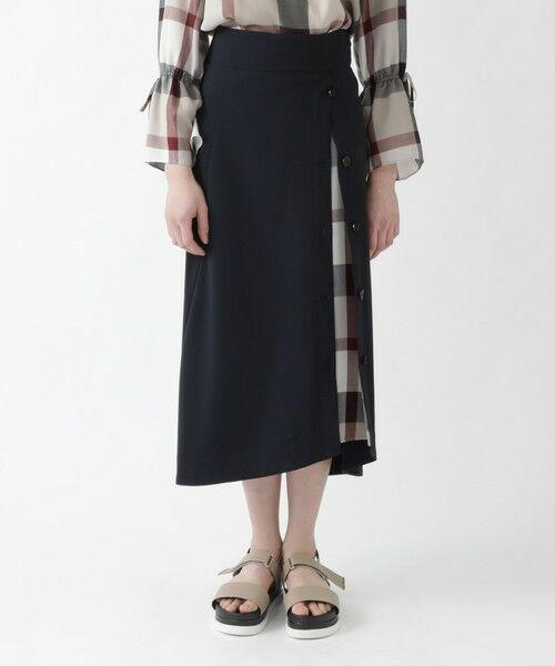 BLUE LABEL / BLACK LABEL CRESTBRIDGE / ブルーレーベル / ブラックレーベル・クレストブリッジ  ミニ・ひざ丈スカート | ソフトドライギャバ フレアスカート(ネイビー3)