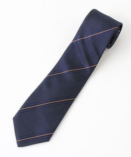 「Cricket」クリケットオリジナル イギリス製生地使用 織り組織切り替えストライプ柄ネクタイ