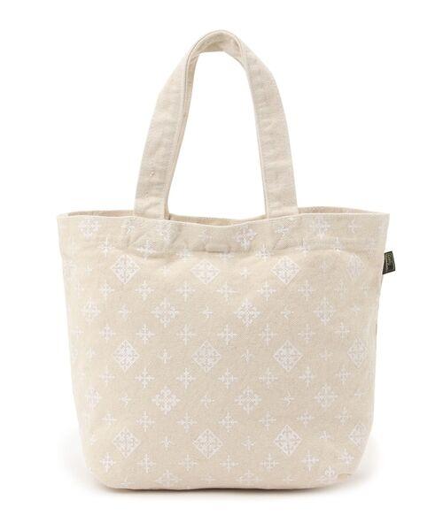 Daily russet / デイリーラシット トートバッグ | 製品染めモノグラムトートバッグ(ホワイト)