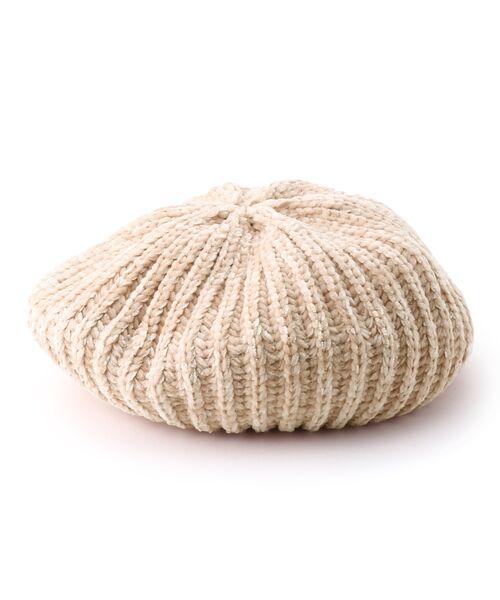 Dessin / デッサン ハンチング・キャスケット・ベレー帽 | モール糸リブニットベレー帽(アイボリー(004))