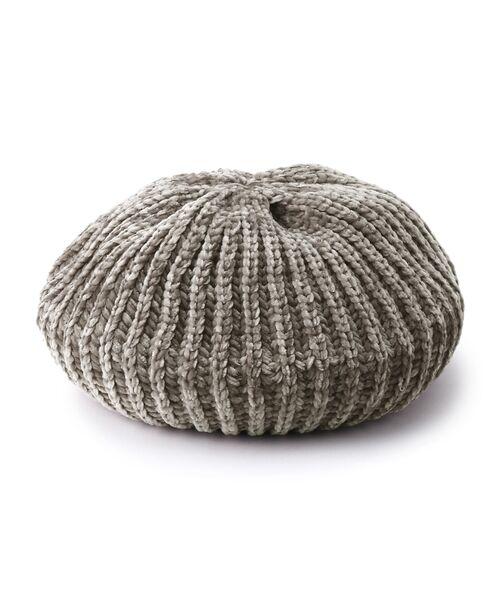 Dessin / デッサン ハンチング・キャスケット・ベレー帽 | モール糸リブニットベレー帽(グレー(012))