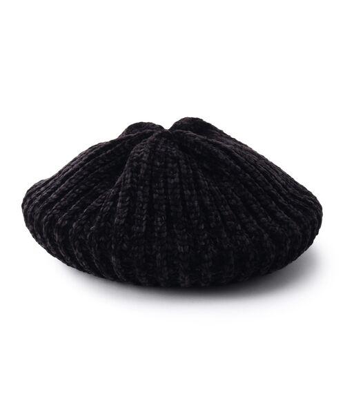 Dessin / デッサン ハンチング・キャスケット・ベレー帽 | モール糸リブニットベレー帽(ブラック(019))