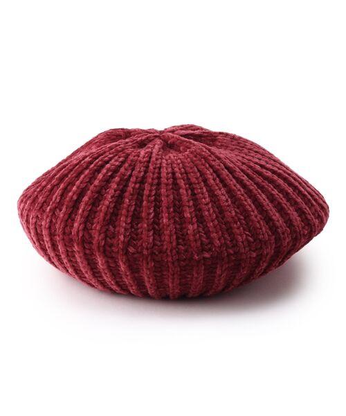 Dessin / デッサン ハンチング・キャスケット・ベレー帽 | モール糸リブニットベレー帽(ボルドー(064))