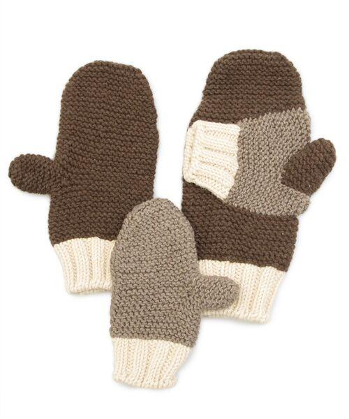 DGBH / ディージービーエイチ 手袋 | フォーエバー・ハンド・イン・ハンド・ミトン 親子用(ダークブラウン/ブラウン/オフホワイト)