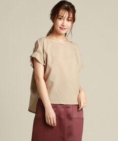 袖にタックが入ったデザインのブラウス。麻のようなシャリ感のある素材ですが、ポリエステル100%なのでシワになりにくく、暑い時期でも気軽に着やすいイージーケア素材なのが嬉しいポイントです。カラーはポイントになるパープルの色と、今年らしい中間色のベージュ、チャコールの全3色です。<br>※お客様のモニター環境により実際のお色と多少異なる場合がございます。<br>※画像の商品はサンプルとなりますので実際の商品と仕様、加工、サイズが若干異なる場合がございます。<br>