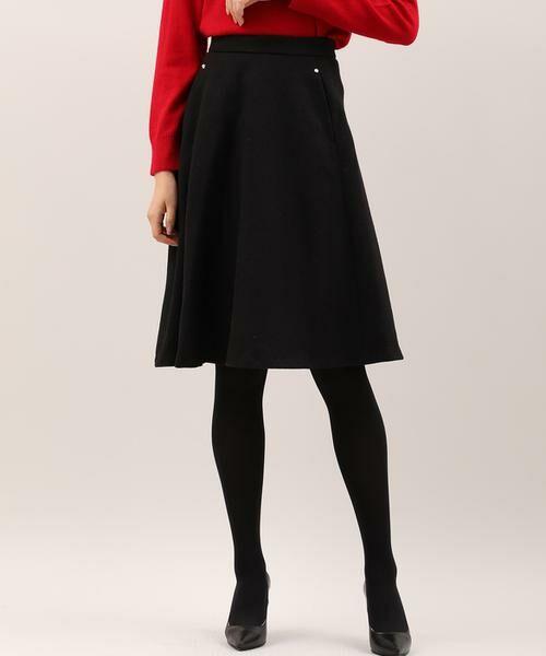 ef-de / エフデ ミニ・ひざ丈スカート | サイドビジューアクセントスカート(ブラック)