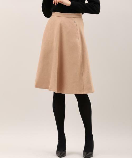 ef-de / エフデ ミニ・ひざ丈スカート | サイドビジューアクセントスカート(キャメル1)