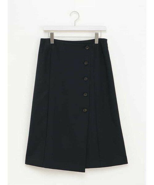 ensuite(大きいサイズ) / エンスウィート(おおきいサイズ) ミニ・ひざ丈スカート | 【エンスウィート】ラップ風ボタンスカート(ネイビー)