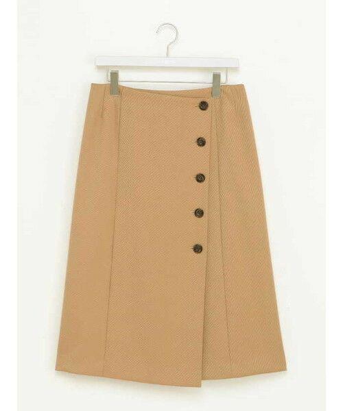 ensuite(大きいサイズ) / エンスウィート(おおきいサイズ) ミニ・ひざ丈スカート | 【エンスウィート】ラップ風ボタンスカート(ライトベージュ)