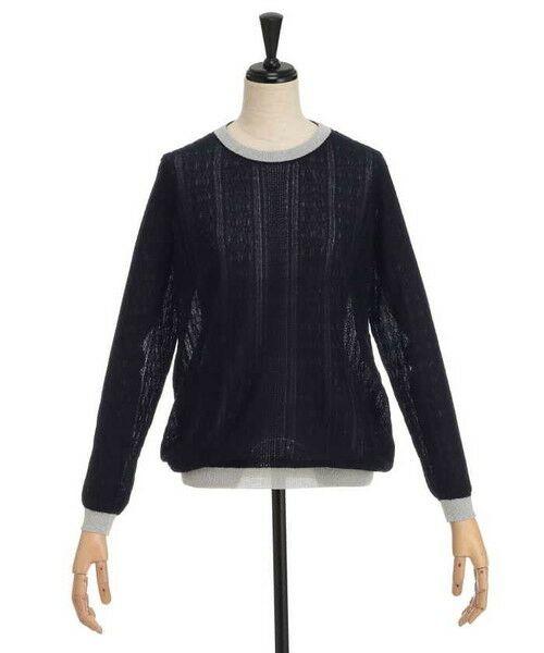 ensuite / エンスウィート ニット・セーター | ラメ糸使用透かし編み柄ニット(ネイビー)