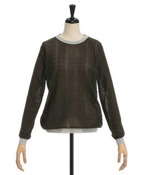 ensuite / エンスウィート ニット・セーター | ラメ糸使用透かし編み柄ニット(カーキ)
