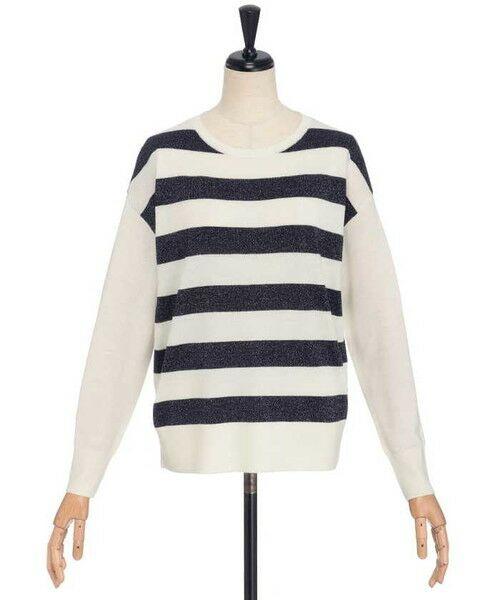 ensuite / エンスウィート ニット・セーター | プレーティング編みボーダーニット(ネイビー)