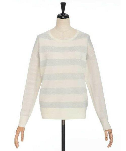 ensuite / エンスウィート ニット・セーター | プレーティング編みボーダーニット(オフホワイト)