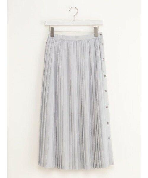 ensuite / エンスウィート ミニ・ひざ丈スカート | ボタンプリーツスカート(アイスグレー)