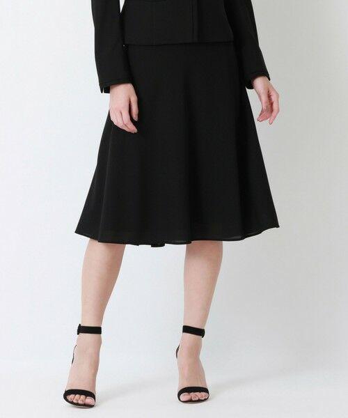 EPOCA / エポカ ロング・マキシ丈スカート | ストレッチクロス セミフレアスカート(ブラック1)