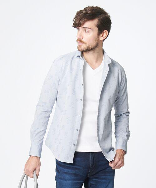 EPOCA UOMO / エポカ ウォモ シャツ・ブラウス   コードフラワー ホリゾンタルカラーシャツ(ライトグレー)