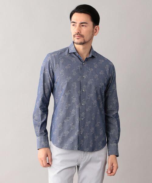 EPOCA UOMO / エポカ ウォモ シャツ・ブラウス   コードフラワー ホリゾンタルカラーシャツ(ネイビー)