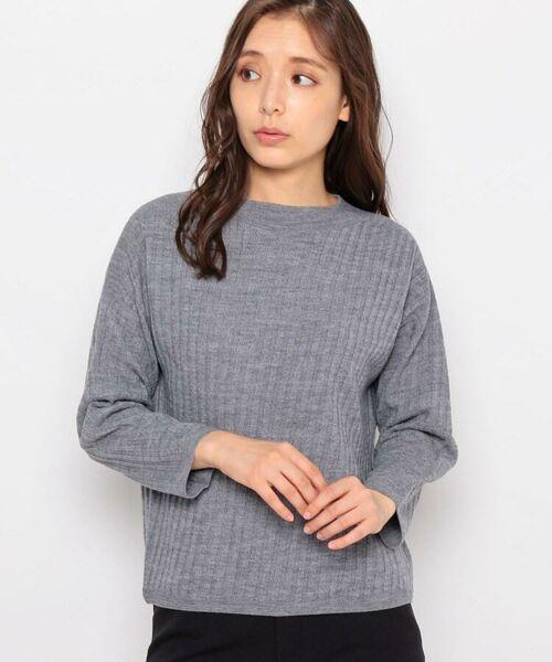 esche / エッシュ ニット・セーター | ホールガーメント(R)柄編みボートネックニット(ダークグレー(013))