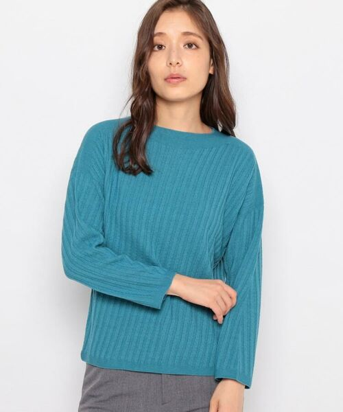 esche / エッシュ ニット・セーター | ホールガーメント(R)柄編みボートネックニット(ライトブルー(091))