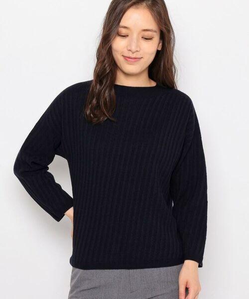 esche / エッシュ ニット・セーター | ホールガーメント(R)柄編みボートネックニット(ネイビー(093))