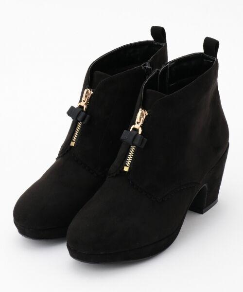 Feroux / フェルゥ ブーツ(ショート丈) | フロントフェイクファスナーショートブーツ(ブラック系)