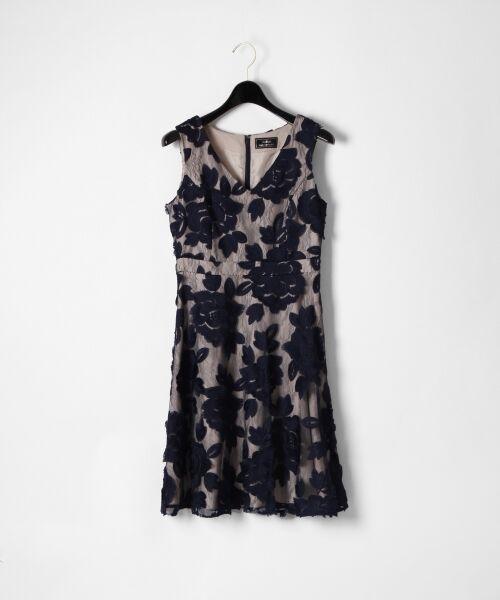 GRACE CONTINENTAL / グレースコンチネンタル ドレス | 配色ローズレースワンピース(ネイビー)
