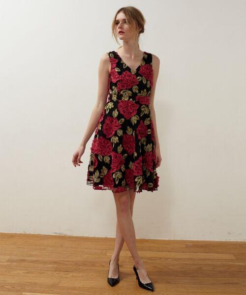 GRACE CONTINENTAL / グレースコンチネンタル ドレス | 配色ローズレースワンピース(ブラック)