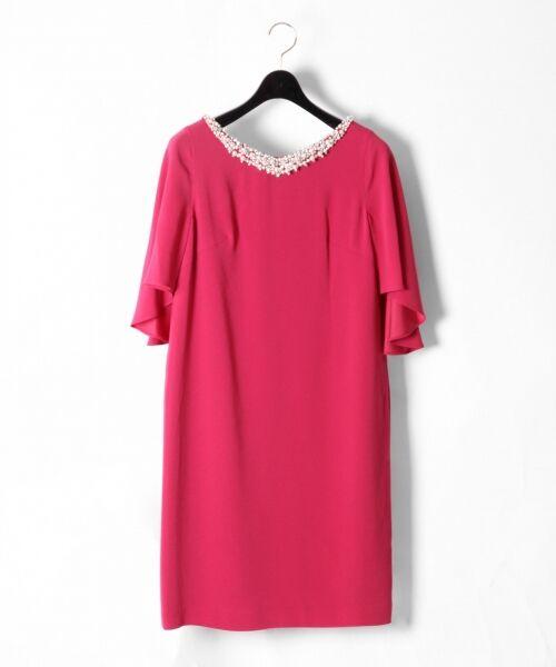 GRACE CONTINENTAL / グレースコンチネンタル ドレス | フレアスリーブパールワンピース(ピンク)