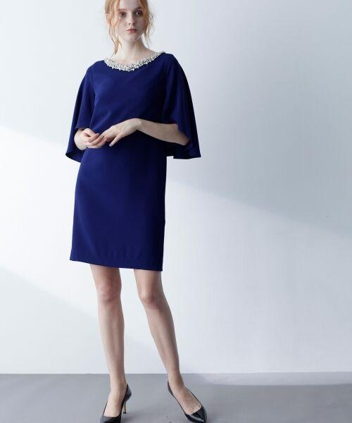 GRACE CONTINENTAL / グレースコンチネンタル ドレス | フレアスリーブパールワンピース(ネイビー)