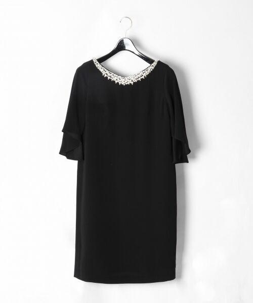 GRACE CONTINENTAL / グレースコンチネンタル ドレス | フレアスリーブパールワンピース(ブラック)