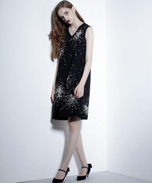 GRACE CONTINENTAL / グレースコンチネンタル ドレス | ビジューAラインワンピース(ブラック)