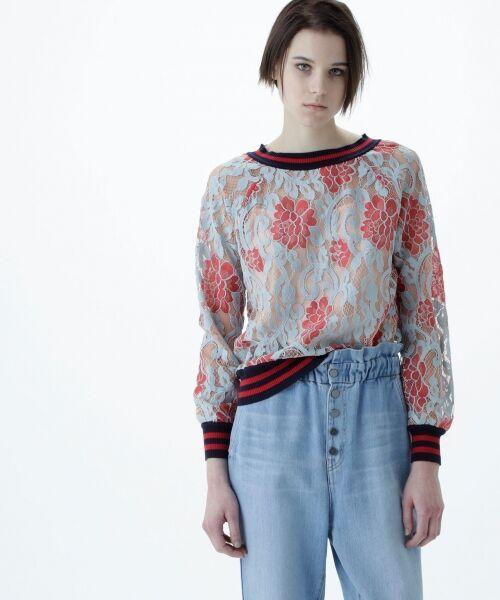 GRACE CONTINENTAL / グレースコンチネンタル Tシャツ   フラワーレースライントップ(ピンク)