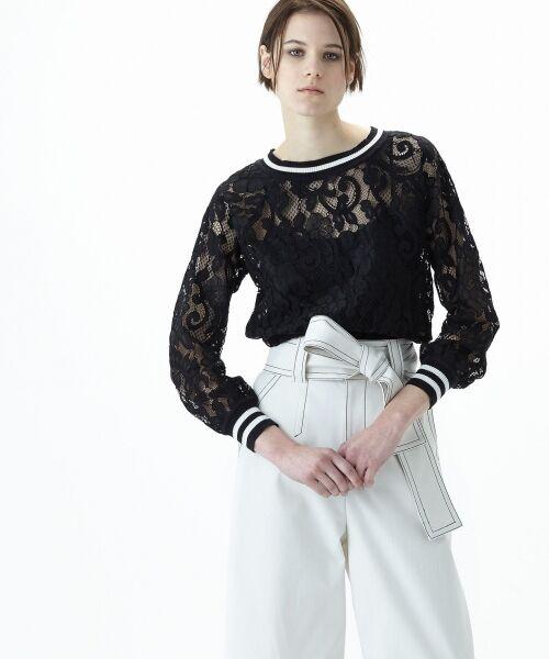 GRACE CONTINENTAL / グレースコンチネンタル Tシャツ   フラワーレースライントップ(ブラック)