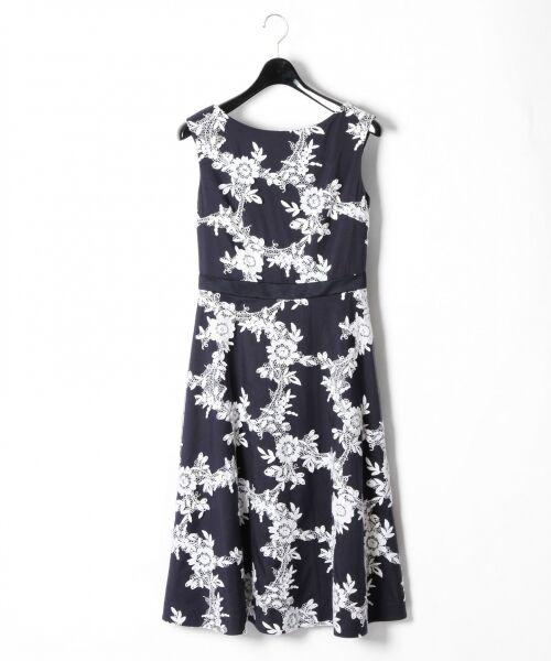GRACE CONTINENTAL / グレースコンチネンタル ドレス | レースフラワー刺繍ワンピース(ネイビー)