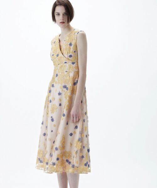 GRACE CONTINENTAL / グレースコンチネンタル ドレス | バイカラーフラワーチュールワンピース | 詳細1