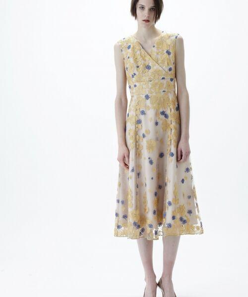GRACE CONTINENTAL / グレースコンチネンタル ドレス | バイカラーフラワーチュールワンピース | 詳細2