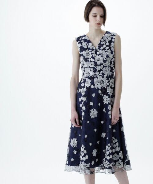 GRACE CONTINENTAL / グレースコンチネンタル ドレス | バイカラーフラワーチュールワンピース | 詳細6