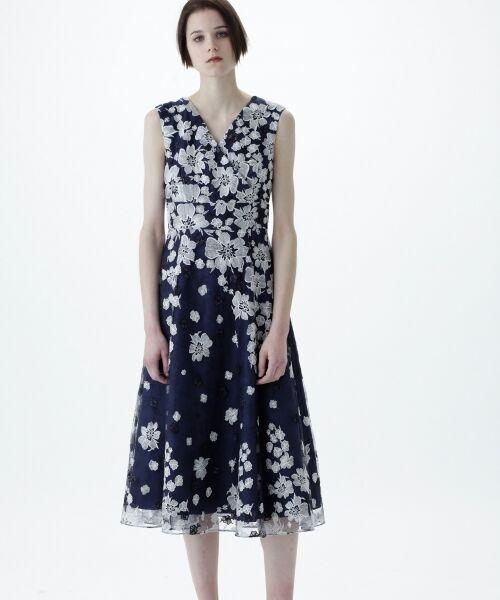 GRACE CONTINENTAL / グレースコンチネンタル ドレス | バイカラーフラワーチュールワンピース | 詳細7